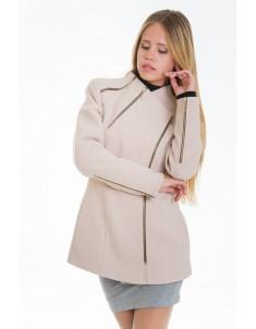 Пальто модель №5 змейка бежевое (весна/осень). Размер 42-48