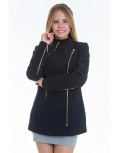 Пальто модель №5 змейка черное (весна/осень). Размер 42-48