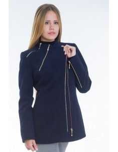 Пальто модель №5 змейка синее (весна/осень). Размер 42-48