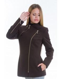 Пальто модель №5 змейка шоколадное (весна/осень). Размер 42-48