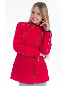 Пальто модель №5 змейка красное (весна/осень). Размер 42-48