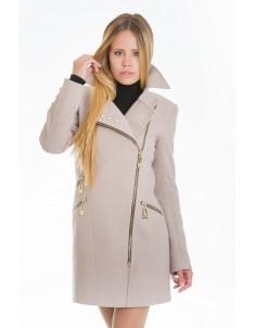 Пальто модель №7 3 змейки+3 кнопки бежевое (весна/осень). Размер 40-48