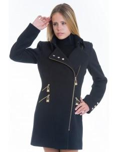 Пальто модель №7 3 змейки+3 кнопки черное (весна/осень). Размер 40-48