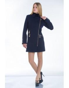 Пальто модель №7 3 змейки+3 кнопки синее (весна/осень). Размер 40-48