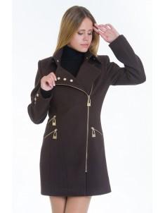 Пальто модель №7 3 змейки+3 кнопки шоколадное (весна/осень). Размер 40-48