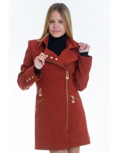 Пальто модель №7 3 змейки+3 кнопки рыжее (весна/осень). Размер 40-48