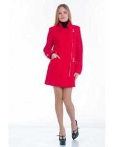 Пальто модель №7 3 змейки+3 кнопки красное (весна/осень). Размер 40-48
