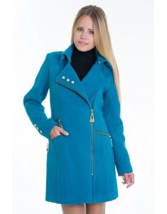 Пальто модель №7 3 змейки+3 кнопки морская волна (весна/осень). Размер 40-48