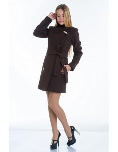 Пальто модель  №8 (хляст) шоколадное. Размер 40-48