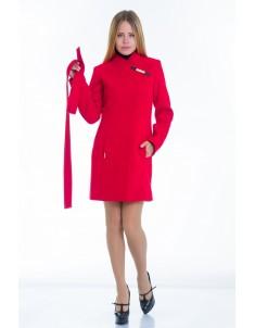 Пальто модель №8 (хляст) красное. Размер 40-48