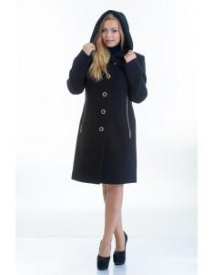 Пальто модель №9 капюшон черное (весна/осень). Размер 44-48