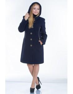Пальто модель №9 капюшон синее (весна/осень). Размер 44-48