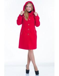 Пальто модель №9 капюшон красное (весна/осень). Размер 44-48