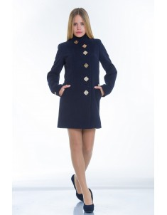 Пальто модель №10 декор синее (весна/осень). Размер 40-48