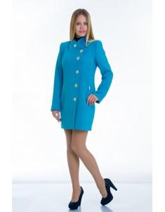 """Пальто женское """"Декор"""" голубое (модель №10). Размер 40-48"""