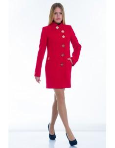 Пальто модель №10 декор красное (весна/осень). Размер 40-48