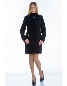 Пальто модель №11 без ворота черное (весна/осень). Размер 40-48