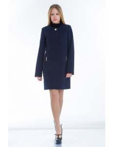Пальто модель №11 без ворота синее (весна/осень). Размер 40-48