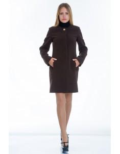 Пальто модель №11 без ворота шоколадное (весна/осень). Размер 40-48