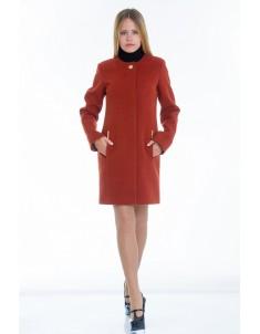 Пальто модель №11 без ворота рыжее (весна/осень). Размер 40-48