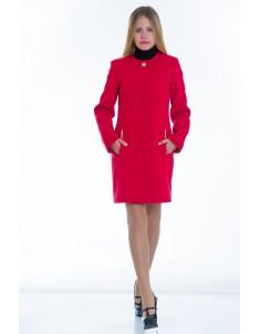 Пальто модель №11 без ворота красное (весна/осень). Размер 40-48