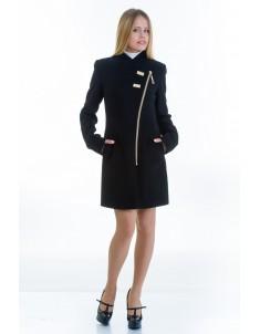 Пальто модель №12 2 декор черного (весна-осень). Размер 40-48