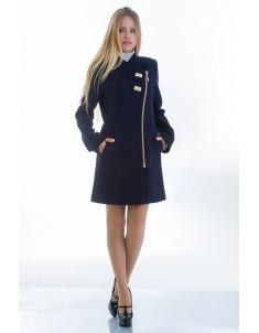 Пальто модель №12 2 декор синее (весна-осень). Размер 40-48