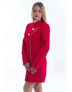 Пальто модель №12 2 декор красное (весна-осень). Размер 40-48