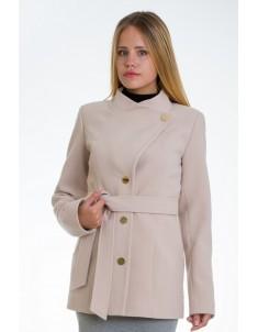 Пальто модель №13 гусарик бежевое (весна/осень). Размер 40-48