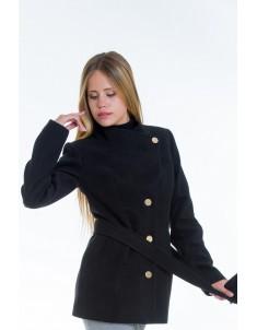 Пальто модель №13 гусарик черное (весна/осень). Размер 40-48