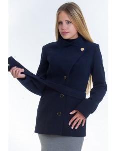 Пальто модель №13 гусарик синее (весна/осень). Размер 40-48