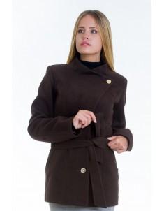 Пальто модель №13 гусарик шоколадное (весна/осень). Размер 40-48