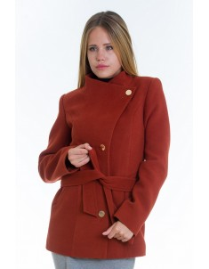 Пальто модель №13 гусарик рыжее (весна/осень). Размер 40-48