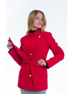 Пальто модель №13 гусарик красное (весна/осень). Размер 40-48