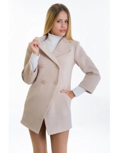 Пальто модель №16 фрак бежевое (весна/осень). Размер 40-48