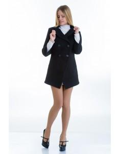 Пальто модель №16 фрак черное (весна/осень). Размер 40-48