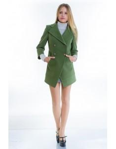 Пальто модель №16 фрак зеленое (весна/осень). Размер 40-48