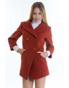 Пальто модель №16 фрак рыжее (весна/осень). Размер 40-48