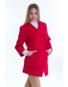 Пальто модель №16 фрак красное (весна/осень). Размер 40-48