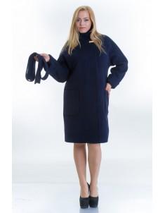 Пальто модель №20 синего цвета (осень/зима). Размер 46-54