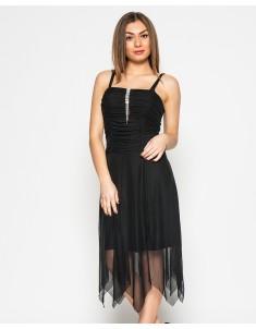 """Платье """"Луч"""" чёрное с шалью (модель №16 сетка-драпировка). Размеры 44-48"""