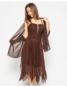 """Платье """"Луч"""" шоколадное с шалью (модель №16 сетка-драпировка). Размеры 44-48"""