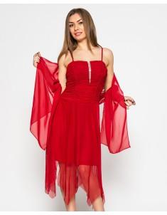 """Платье """"Луч"""" красное с шалью (модель №16 сетка-драпировка). Размеры 44-48"""