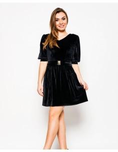 """Платье """"Велюр"""" чёрное (модель №17 мыс). Размеры 42-48"""