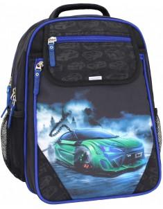 Рюкзак школьный Отличник 1-3 класс черный синий с машиной