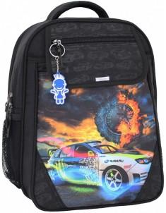 Рюкзак школьный Отличник 1-3 класс черный с машиной
