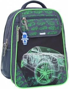 Рюкзак школьный Отличник 1-3 класс серый зеленый с машиной