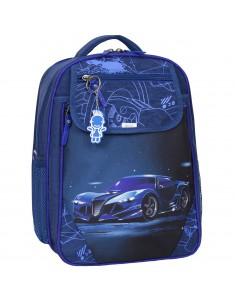 Рюкзак школьный Отличник 1-3 класс синий с машиной