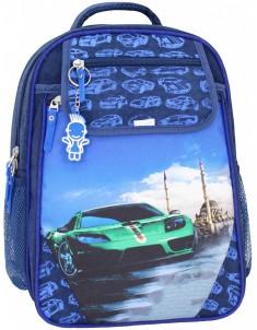 Рюкзак школьный Отличник 1-3 класс синий с зеленой машиной