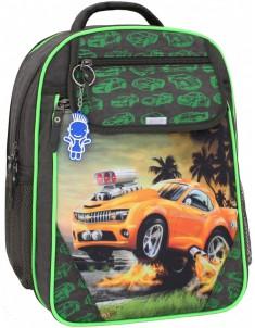 Рюкзак школьный Отличник 1-3 класс хаки машиной